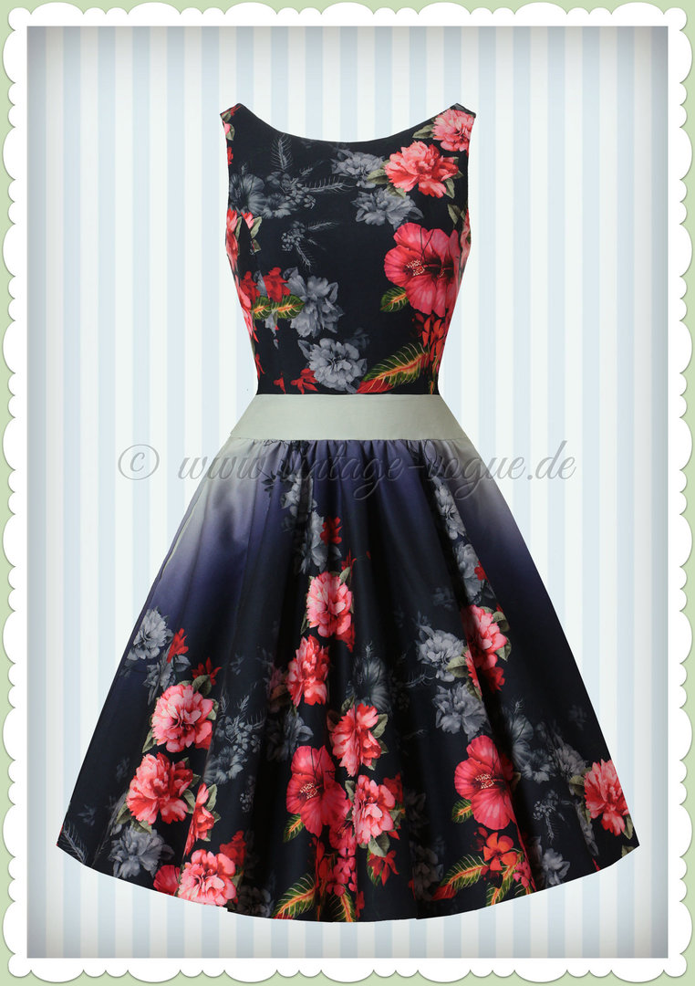 Lady Vintage 40er Jahre Retro Vintage Floral Kleid - Tea Dress - Navy Blau