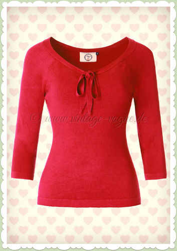 Banned 40er Jahre Retro Schluppen Jumper - Pretty Illusion - Rot