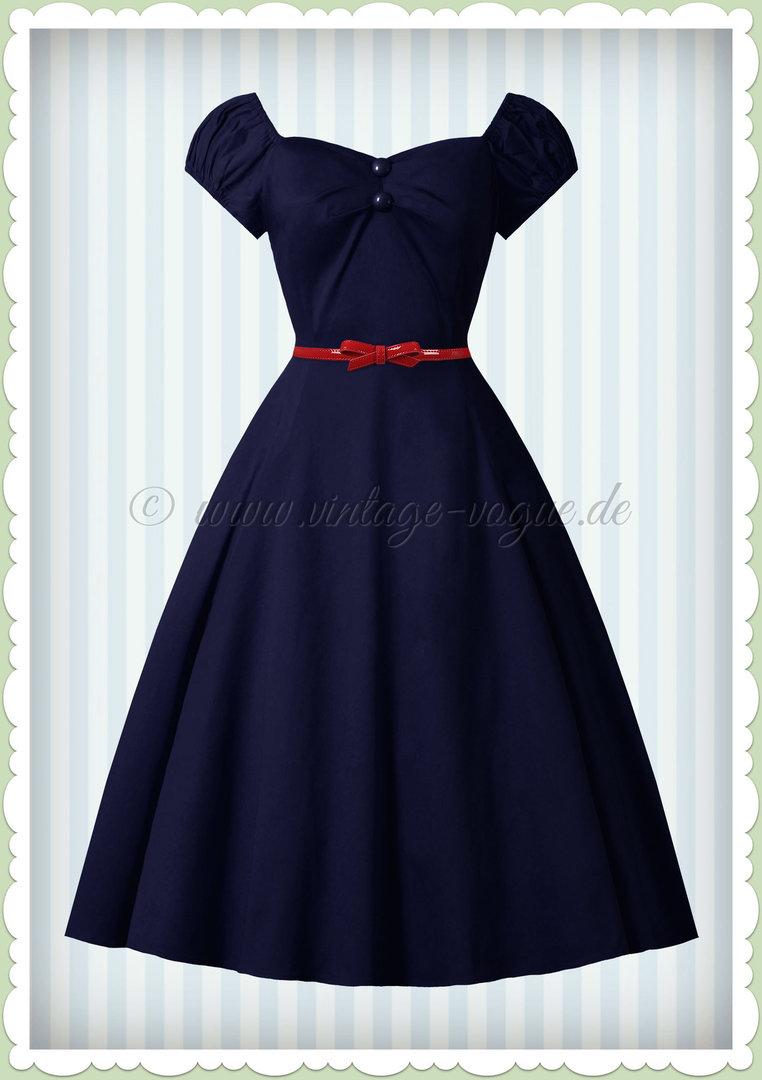 a965da1992580c Collectif 40er Jahre Vintage Uni Petticoat Kleid - Dolores Doll - Navy Blau