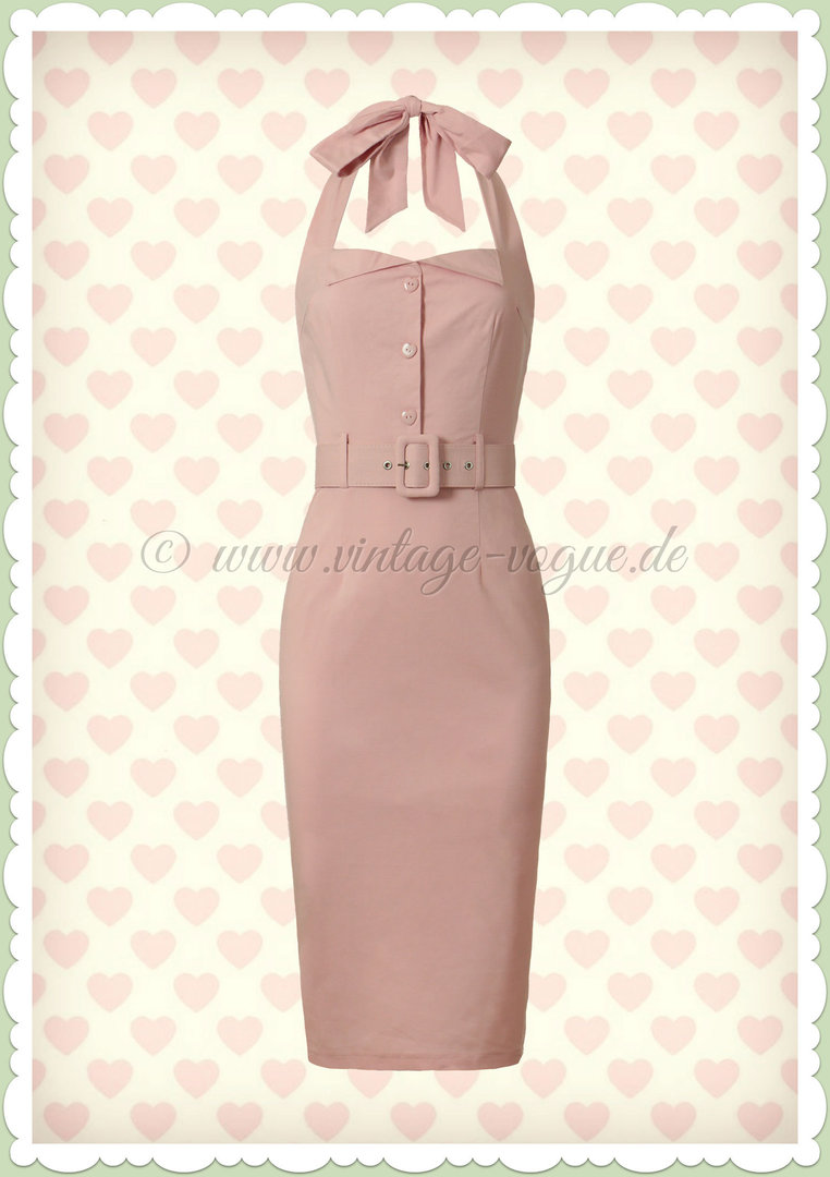 Collectif 50er Jahre Pin Up Rockabilly Pencil Kleid  - Wanda - Rosa