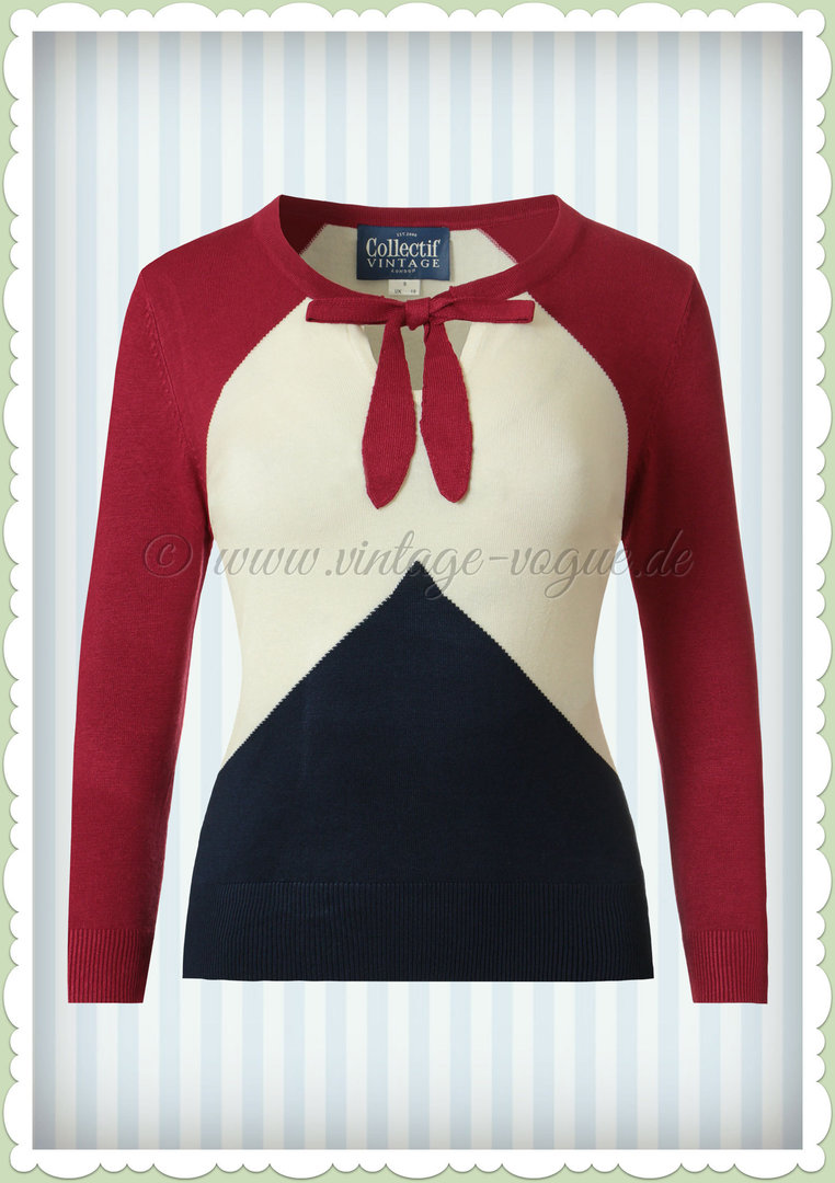 Collectif 50er Jahre Rockabilly Vintage Jumper - Claretto - Navy Rot Weiß