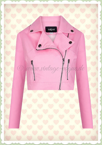 Collectif 50er Jahre Rockabilly Retro Biker Jacke - Outlaws - Rosa
