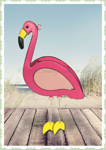 Miss Millinery 50er Jahre Retro Flamingo Tasche - Cute Flamingo - Pink