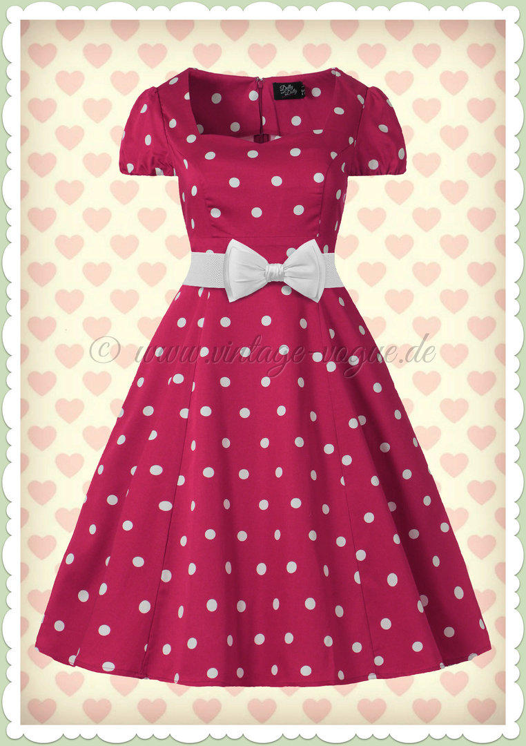Dolly & Dotty 50er Jahre Rockabilly Punkte Kleid - Claudia - Pink Weiß