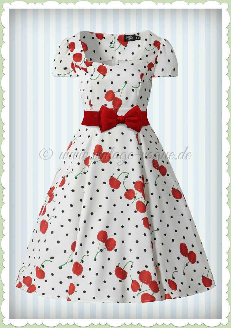 Dolly & Dotty 50er Jahre Vintage Cherry & Polka Dot Kleid - Claudia - Weiß