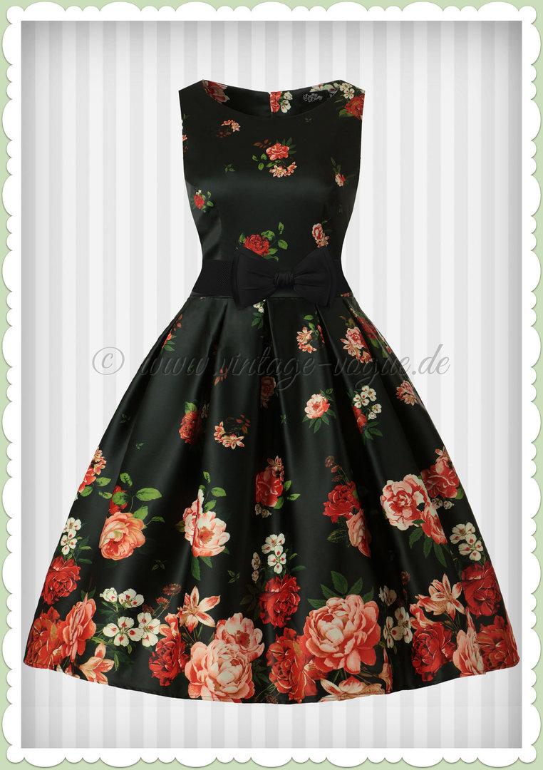 cb90b5200a0d67 Dolly & Dotty 50er Jahre Rockabilly Vintage Floral Kleid - Annie - Schwarz