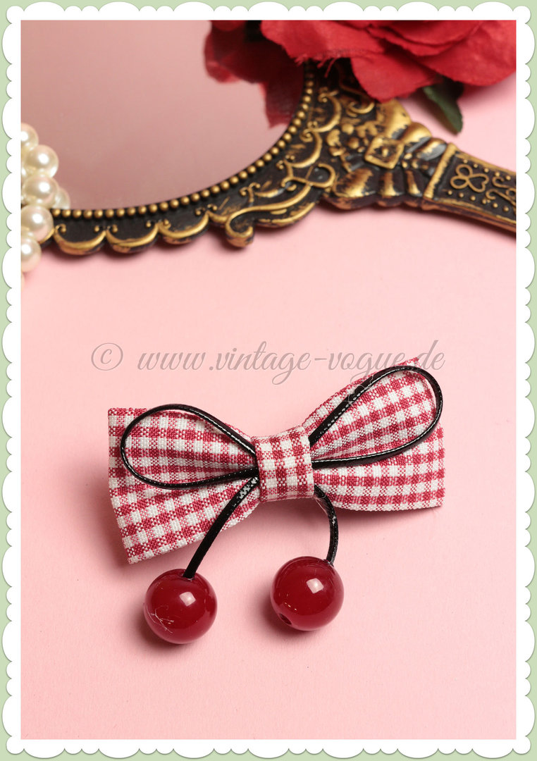 Banned 50s Pin Up Rockabilly Retro Kirschen Gingham Haarclip - Rot