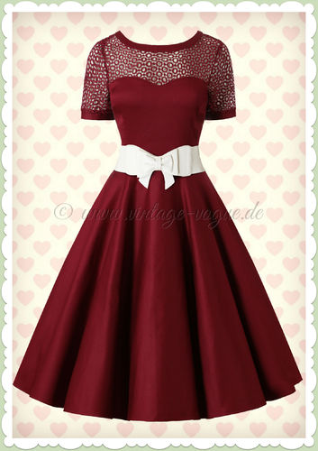 Dolly & Dotty 50er Jahre Retro Rockabilly Petticoat Kleid - Tessa - Burgundy