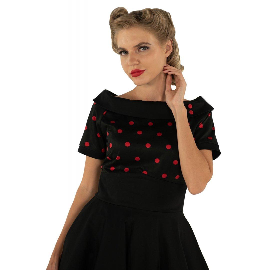 82933671adeac5 Dolly & Dotty 50er Jahre Rockabilly Punkte Kleid - Darlene - Schwarz Rot