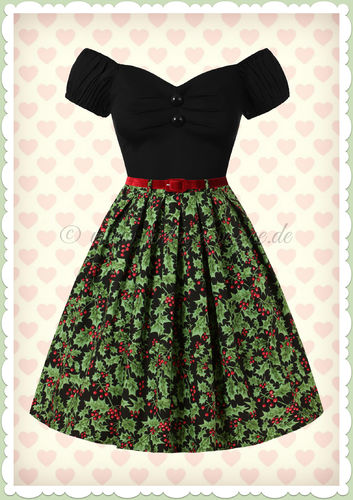 Hell Bunny 50er Jahre Rockabilly Floral Teller Rock - Holly Berry - Schwarz
