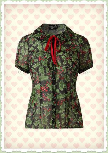 Hell Bunny 40er Jahre Retro Vintage Beeren Bluse - Holly Berry - Schwarz Rot