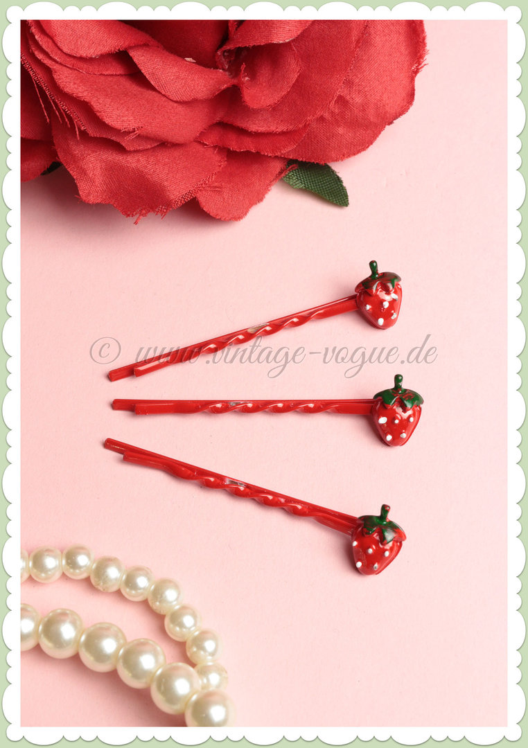 Miss Millinery 50s Pin Up Rockabilly Retro Erdbeer Haarpin - Strawberry