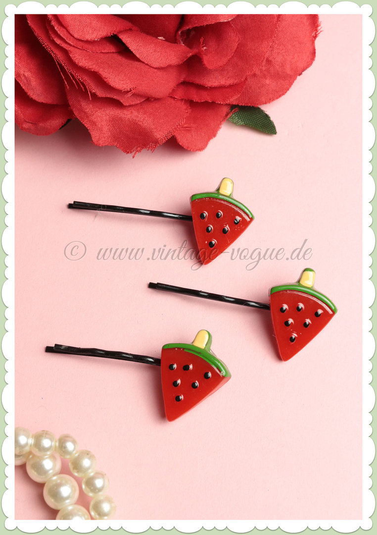 Miss Millinery 50s Pin Up Rockabilly Retro Wassermelone Haarpin - Watermelon