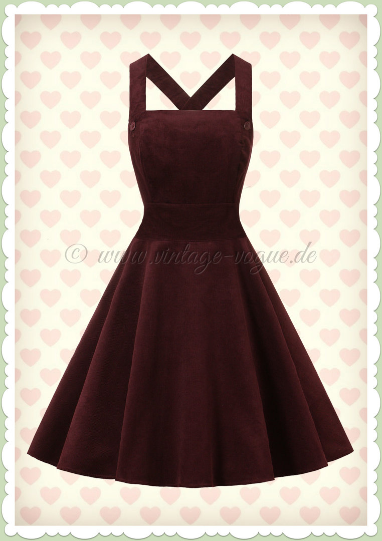 Hell Bunny 50er Jahre Retro Kord Kleid - Wonder Years Pinafore - Burgundy