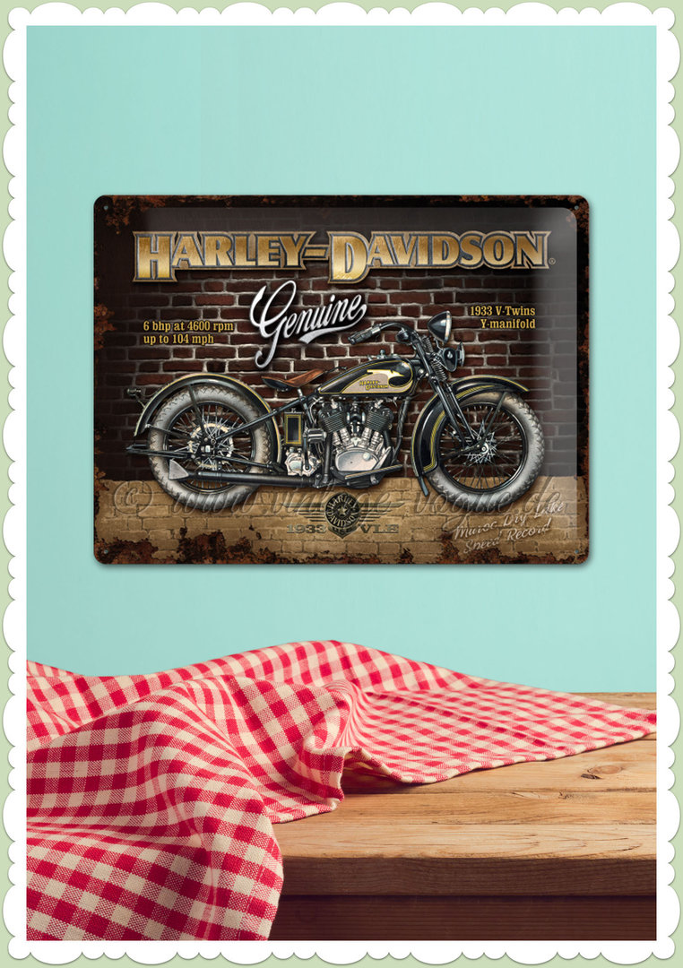 "Nostalgic Art Retro Open Bar Blechschild ""Harley-Davidson - Brick Wall"""