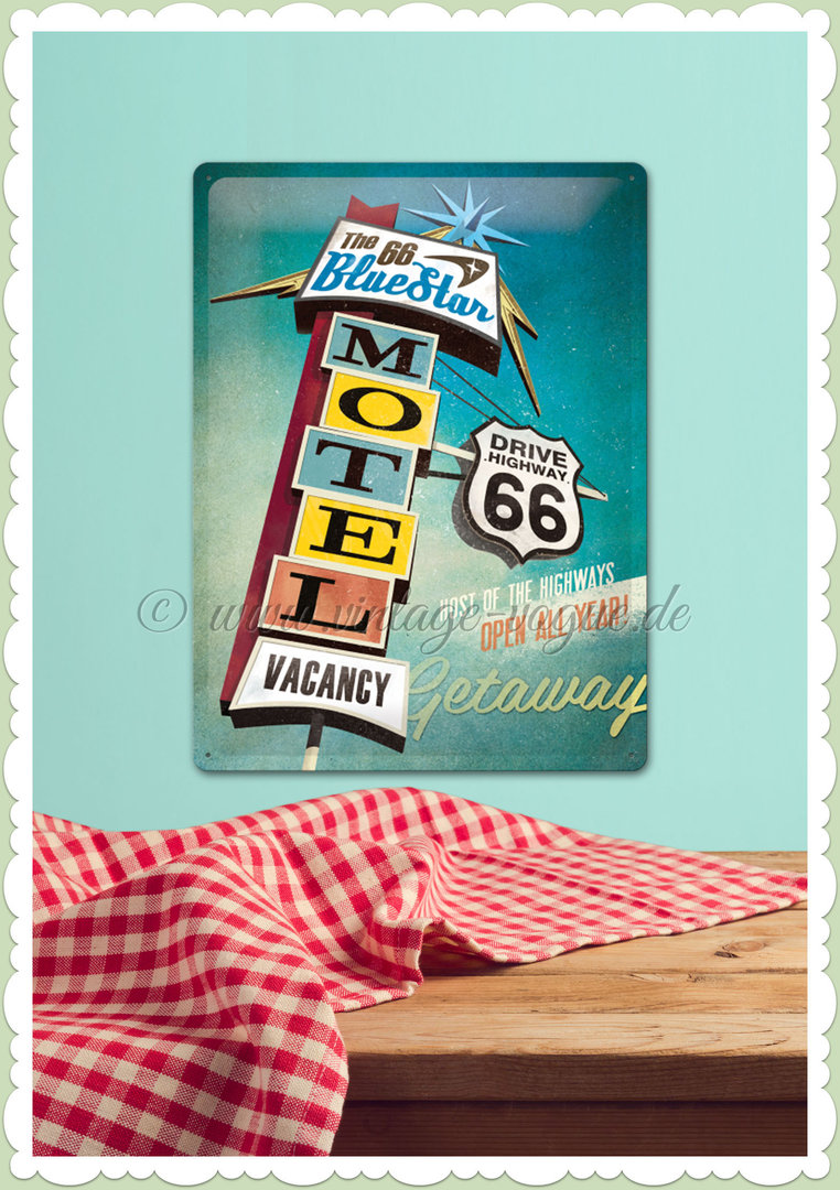 "Nostalgic Art Retro Volkswagen Blechschild ""The 66 Blue Star Motel"""