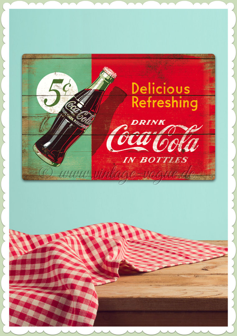 "Nostalgic Art Retro Blechschild ""Coca-Cola - Delicious Refreshing"""