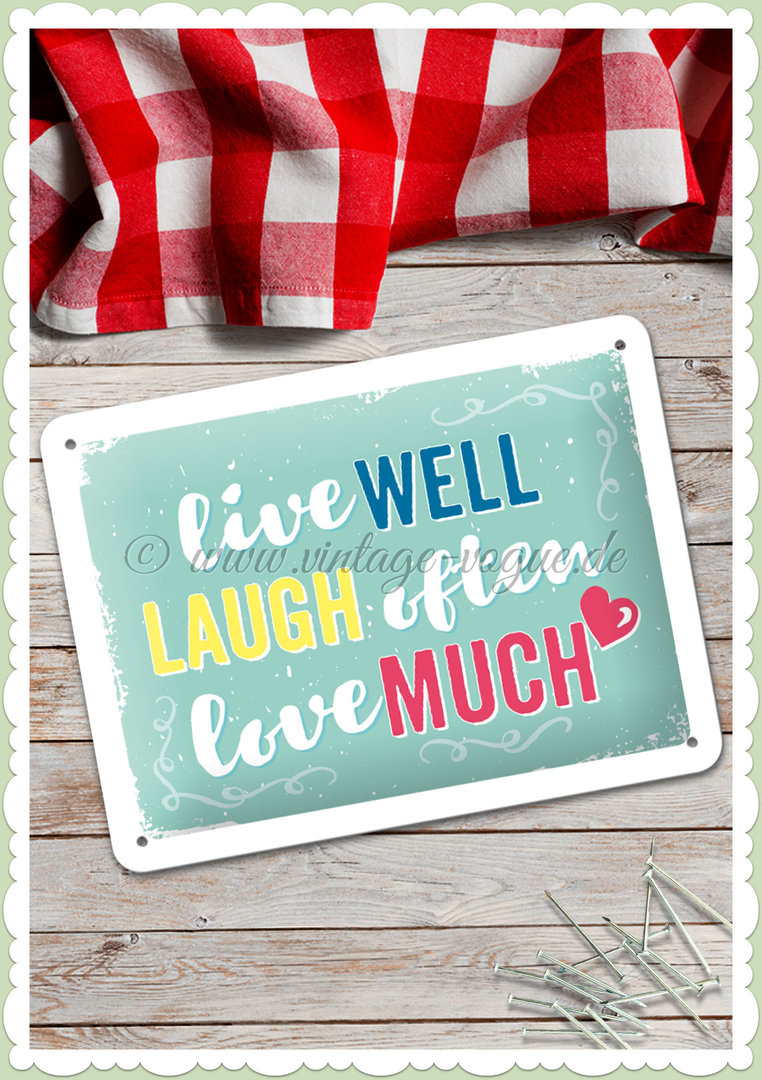 "Nostalgic Art Retro Kitchen Blechschild ""Live Laugh Love"""