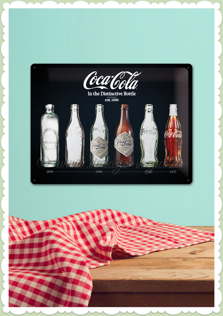 "Nostalgic Art Retro Open Bar Blechschild ""Coca-Cola - Bottle Timeline"""