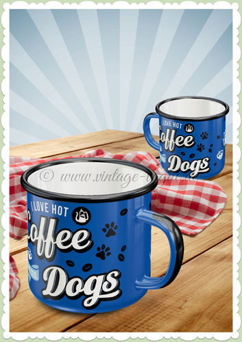 "Nostalgic Art Retro Emaille-Becher ""Hot Coffee & Cool Dogs"""