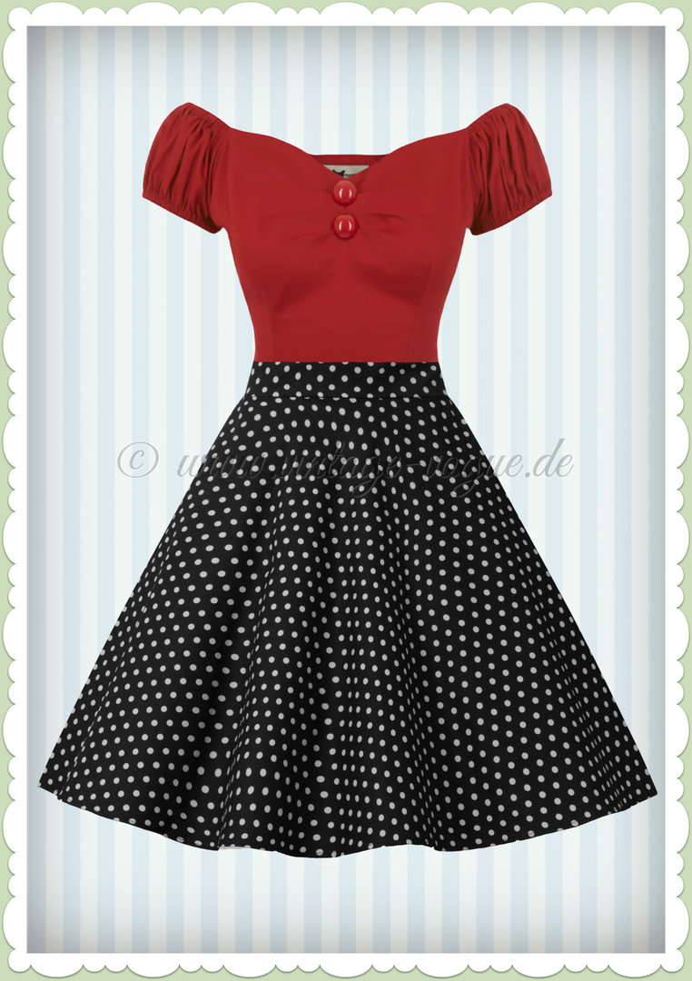Dolly & Dotty 50er Jahre Retro Punkte Petticoat Teller Rock - Shirl - Schwarz