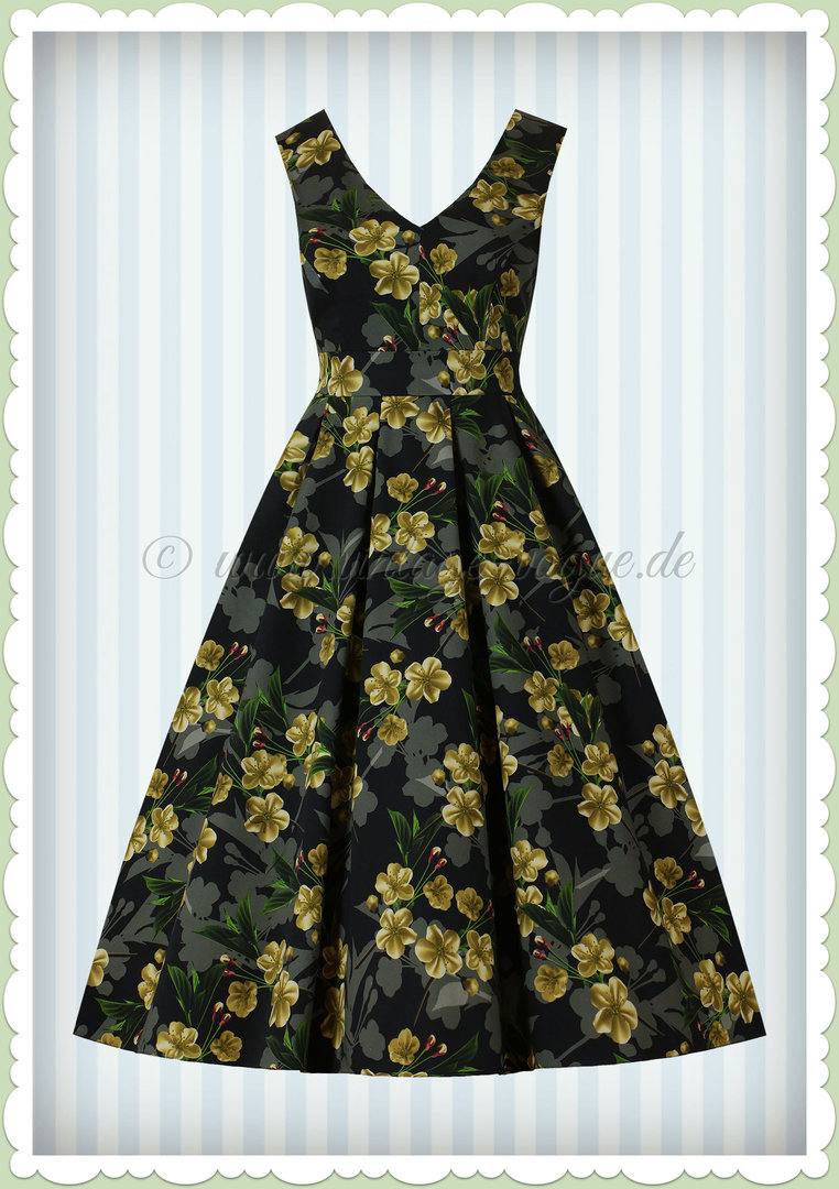 4cc2695f600f3a Lady Vintage 40er Jahre Vintage Retro Floral Kleid - Belle - Schwarz Gold