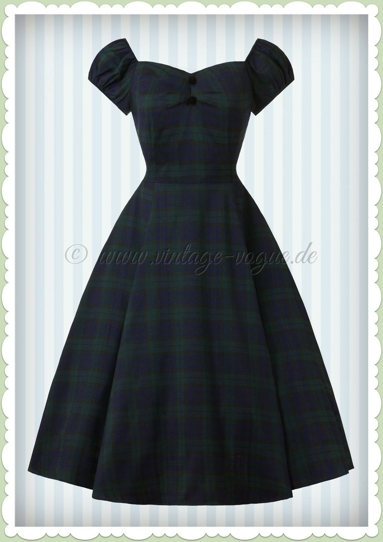 b03e0ae4294dbe Collectif 50er Jahre Carmen Vintage Tartan Karo Kleid -Dolores - Navy Grün