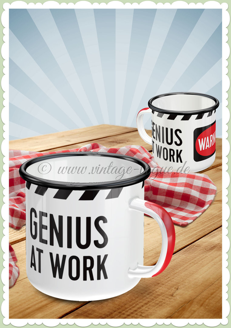 "Nostalgic Art Retro Emaille-Becher ""Genius At Work"""