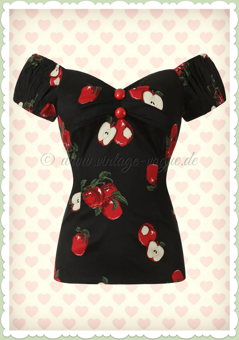 Collectif 50er Jahre Pin Up Retro Vintage Apfel Top - Dolores - Schwarz