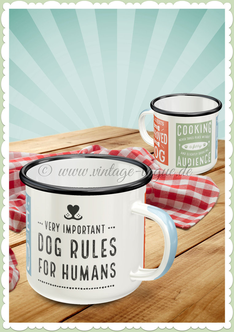 "Nostalgic Art Retro Emaille-Becher ""PfotenSchild - Dog Rules"""