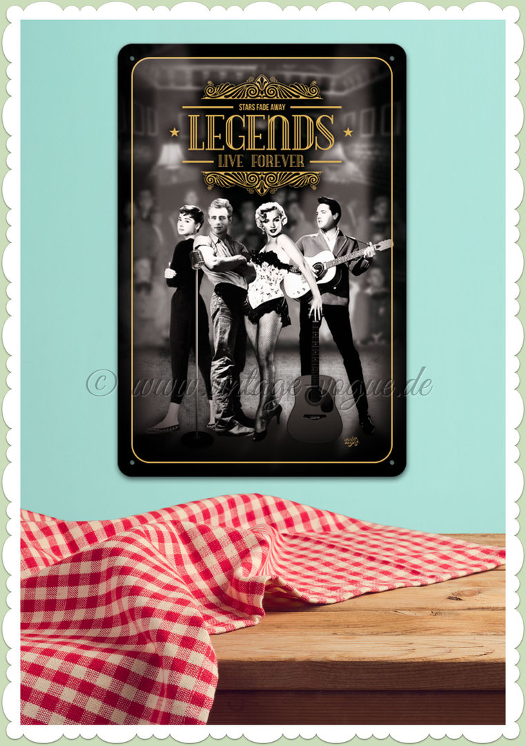 "Nostalgic Art Retro Pin Up Blechschild ""Legends Live Forever"""