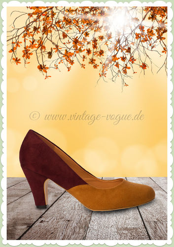 Banned 50er Jahre Retro Schuhe Pumps -The Modernist - Senfgelb & Burgundy