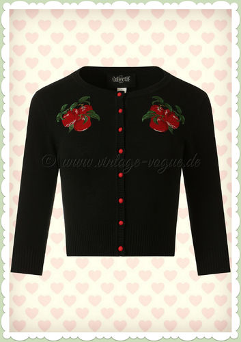 Collectif 50er Jahre Rockabilly Strickjacke - Lucy Apples - Schwarz