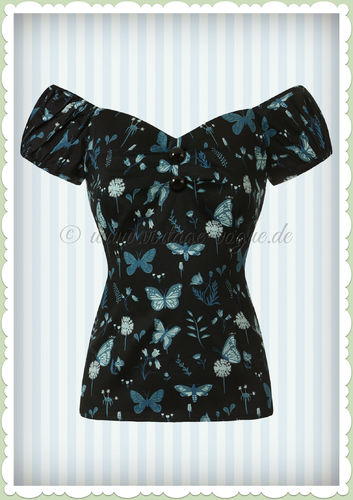 Collectif 50er Jahre Pin Up Retro Vintage Butterfly Top - Dolores - Schwarz