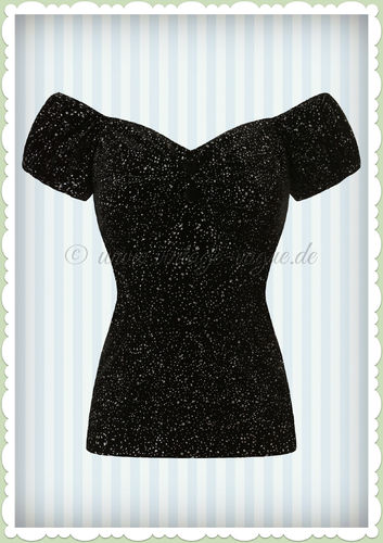 Collectif 50er Jahre Pin Up Vintage Retro Glitzer Top - Dolores - Schwarz