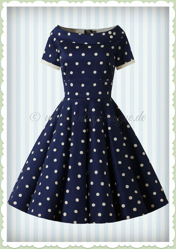 Dolly & Dotty 50er Jahre Rockabilly Punkte Kleid - Darlene - Navy Blau