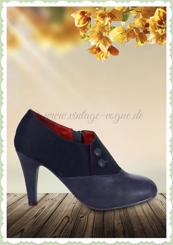Collectif Lulu Hun 40er Jahre Retro Stiefel Ankle Boots - Maria - Navy Blau