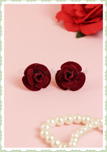 Collectif 50er Jahre Retro Rosen Velvet Ohrstecker - Rose Studs - Burgundy