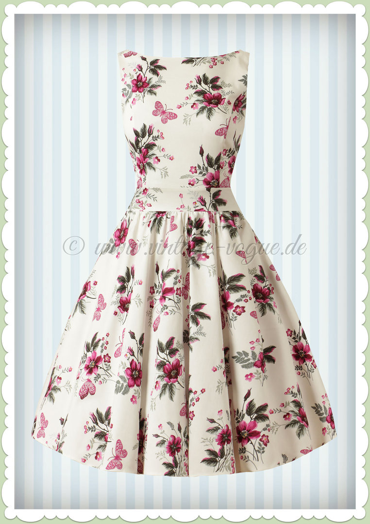 Lady Vintage 40er Jahre Retro Blumen Butterfly Kleid - Tea Dress - Weiß