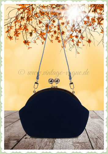 Collectif 50er Jahre Vintage Retro Handtasche - Elegant Evening - Royal Blau