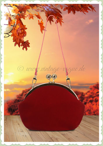 Collectif 50er Jahre Vintage Retro Handtasche - Elegant Evening - Burgundy