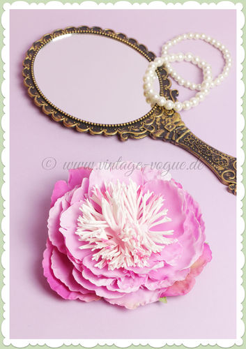 Lady Luck 50er Jahre Retro Vintage Haarblume Rose - Peony - Pink
