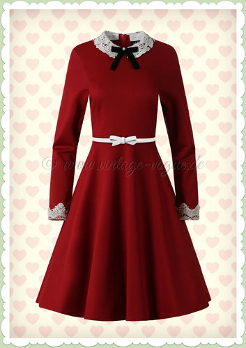 Hell Bunny 50er Jahre Vintage Rockabilly Swing Kleid - Ricci - Rot