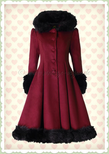 Hell Bunny 50er Jahre Rockabilly Winter Mantel - Elvira - Burgundy Schwarz