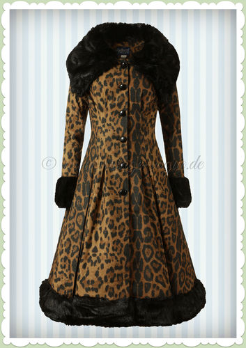 Collectif 50er Jahre Vintage Rockabilly Leo Winter Mantel - Pearli - Leopard