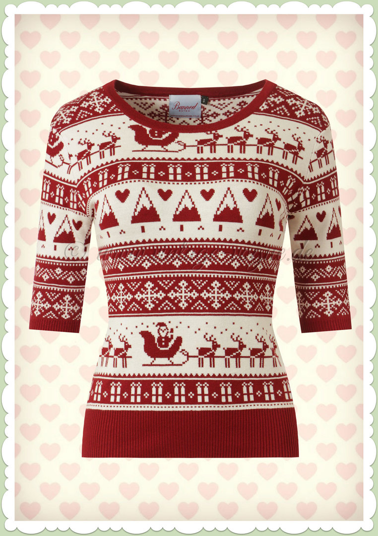 Banned 50er Jahre Rockabilly Vintage Pullover - Christmas Santa - Rot Weiß