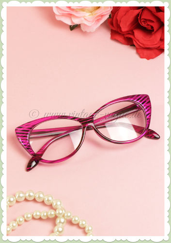 Boolavard 50er Jahre Retro Cat Eye Klarglas Brille - Stripes - Pink Schwarz