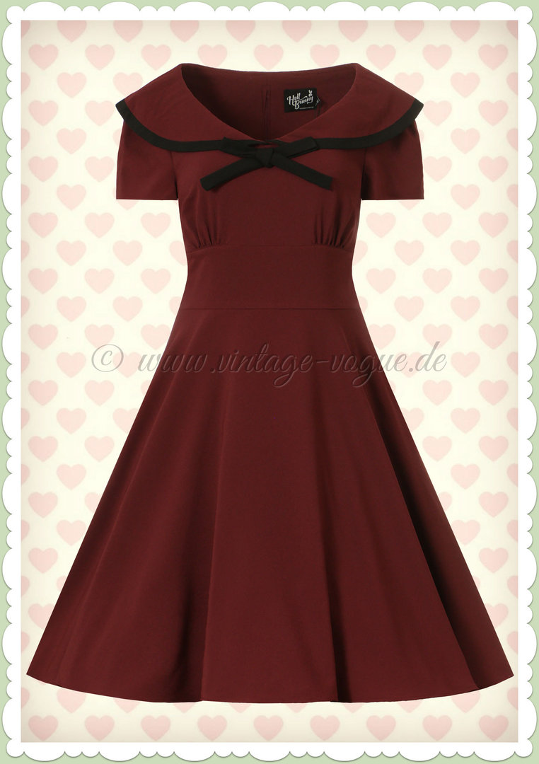 Hell Bunny 9er Jahre Vintage Rockabilly Swing Kleid - Theaa - Burgundy