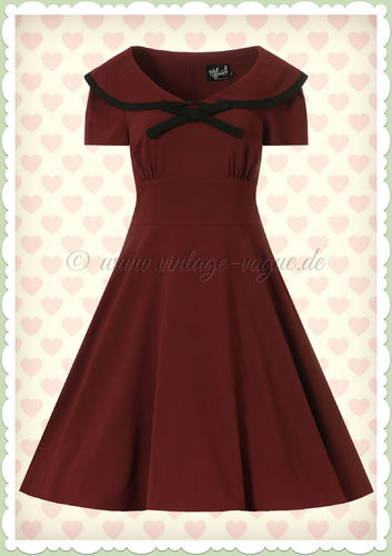 Hell Bunny 50er Jahre Vintage Rockabilly Swing Kleid - Theaa - Burgundy