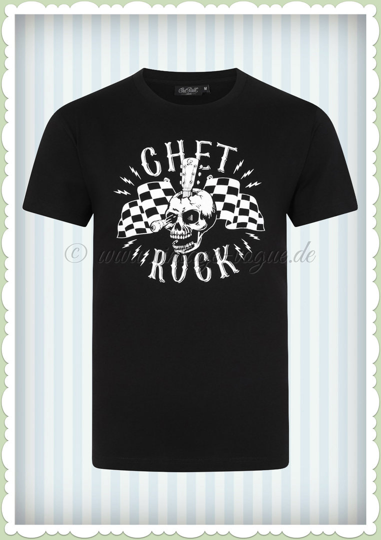 Chet Rock 50er Jahre Retro Herren T-Shirt - Guitar Head Short - Schwarz